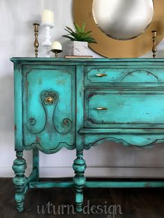 Teal painted vintage buffet turquoise jacobean sideboard #paintedfurniture #Affiliate
