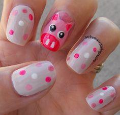Penny R next nail do. Pig Nail Art, Pig Nails, Animal Nail Art, Cute Nail Art, Easy Nail Art, Cute Nails, Creative Nail Designs, Cute Nail Designs, Creative Nails