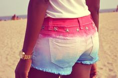 daniela Tabois DIY tie dye studded shorts 4. Lovely colours for Natural girls, and great for Inverted Triangle body types.