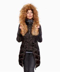 Look what I found on #zulily! Black & Brown Faux Fur Cinch-Waist Puffer Coat #zulilyfinds