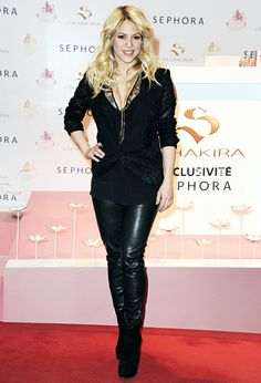 Shakira wears black leather pants at an autograph session for 'S By Shakira' Perfume Launch at Sephora Champs-Elysees on March 27, 2013 in P...