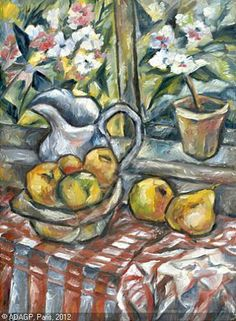 Still Life with Flowers and Fruit (Natalia Goncharova, 1908-09)