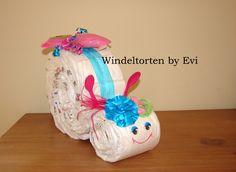 Windelschnecke 'Little Miss', süsse Windeltorte von Windeltorten By Evi auf DaWanda.com