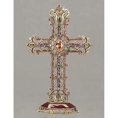 "JAY STRONGWATER  |  Mica Filigree Cross Objet - Jewel  |  795.00  |  5"" x 8"" x 1.75""  |  Product # 09 SDH2302 450."