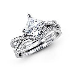 Simon G. Engagement Ring 18 Karat White Gold  Ring With 0.15 Carat Round Diamonds.