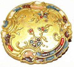 Antique Button painted enameled Art Nouveau by bluehousebuttons