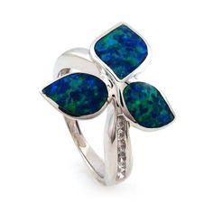 Australian Opal Flower Ring - Gorgeous!