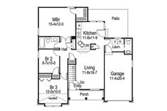 1092 Sq Ft Home Plan HOMEPW13594 3 Bedroom 1 Bathroom Country Home