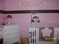 Baby girl nursery pink and brown, This room was done by the baby's grandma who sewed everything you see in the picture.  It is truly original and unique, perfect for a nursery and for her to grow into., Nurseries Design