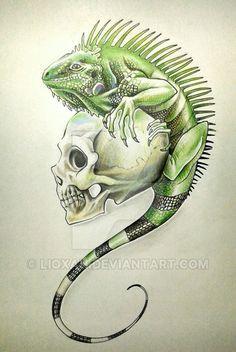 Iguana and Skull Tattoo by LioXan.deviantart.com on @DeviantArt
