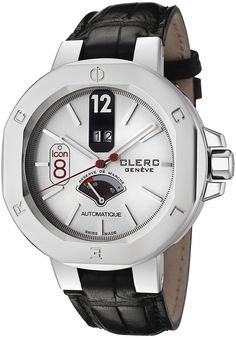 Clerc I8RMA19-SILVER Watches,Men's Icon 8 Automatic Silver Dial Black Genuine Crocodile, Luxury Clerc Automatic Watches