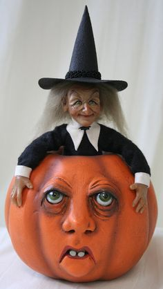 OOAK Sculpted Miniature Art Doll And Sculpted Pumpkin by primdolly