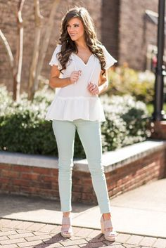 """""""Sweet Soul Top, White""""What a sweet top?! It's so cute with it's little ruffled peplum and fluttering sleeves! This top is going to be perfect for warm weather! #newarrivals #shopthemint"""