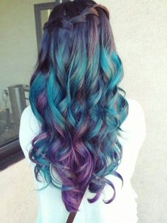 11 Purple mermaid hair colors that you will love - Haare - Hair Color Galaxy Hair, Bright Hair, Colorful Hair, Coloured Hair, Dye My Hair, Cool Hair Color, Hair Colors, Mermaid Hair, Mermaid Makeup