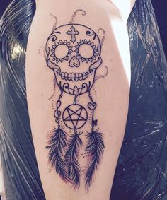 Suger skull dreamcatcher tattoo Unique design by Christel Friis