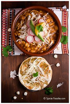 Mexican Chicken pozole recipe; How to make Pozole; receta; recipe; pozole; chicken; rojo; red pozole; authentic; chiles for pozole; chiles para pozole; hominy; stew; soup; Spicie Foodie