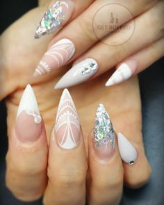 White Lace Inspired Stiletto Nails With Glitter and Rhinestones