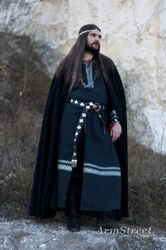 celtic  clothes | ... ' set, black wool cloak, black cotton tunic with silver celtic trim