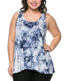 Another great find on #zulily! Blue & White Tie-Dye Racerback Tank - Plus by Magic Fit #zulilyfinds