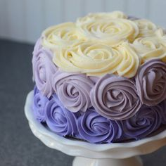 Purple ombré rose cake; chocolate with chocolate mousse filling and butter-cream cheese icing. Yummy!