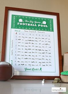 A Printable Football Squares Poster makes a fun Football Party Game! This free printable poster party idea is perfect for any football game or Super Bowl party! Football Super Bowl, Football Squares Template, Superbowl Squares, Super Bowl 54, Super Bowl Sunday, Football Party Games, Football Food, Game Party, Party Fun