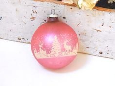 PINK CHRISTMAS TREE Ornament  Shiny Brite by IWANTVINTAGE on Etsy
