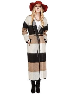 Longline Checked Blanket Coat with Wool   M&S Bargain Reduced to £21