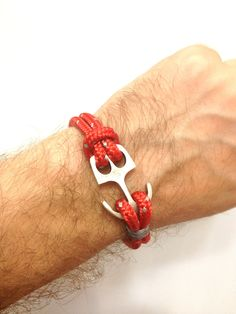 Nautical Sailing Bracelet  with Anchor Claps-Paracord Bracelet-Mens Bracelet-Rope Bracelet-RED. $17.00, via Etsy.