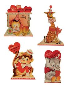 Bethany Lowe Wild About You Dummy Boards Set of 4 - Add some animal fun to your Valentines Day with these retro styled dummy boards.