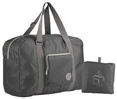 Wandf Foldable Travel Duffel Bag Luggage Sports Gym Water Resistant Nylon Grey -- You can get additional details at the image link-affiliate link.