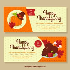 happy thanksgiving banners Free Vector