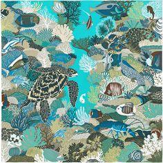 "36"" x 36"" scarf Hermès | Under The Waves by Alice Shirley SS 2016 CW 04 bleu lagon/beige/vert"