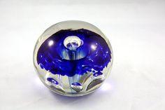 Big Mushroom Explosion. Brilliant Vintage Blue Glass Paperweight. Crystal ball. Blown Glass. on Etsy, $20.00