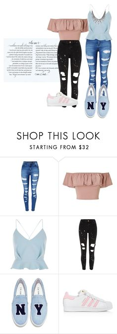 """Who am i???🤷‍♀️"" by maria-ines-dias on Polyvore featuring WithChic, Miss Selfridge, River Island, Joshua's and adidas"