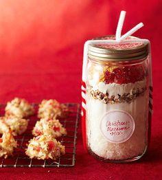 christmas macaroon mix, triple fruit fruitcake mix...in a jar