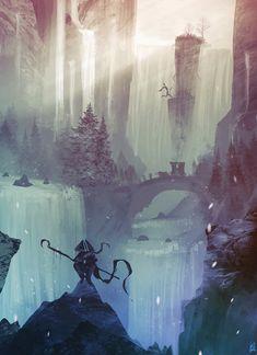 Damian Handzlik - on Art Station Landscape Concept, Fantasy Landscape, Landscape Art, Fantasy Places, Fantasy World, Dark Fantasy, Illustrations, Illustration Art, Manga Anime