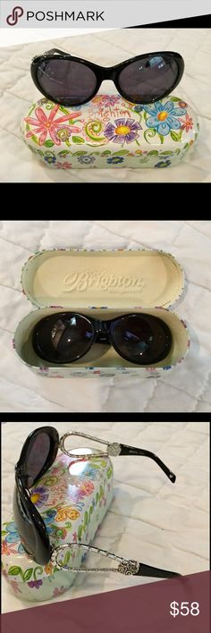 Brighton Sunglasses & Case Black Brighton sunglasses and case. Silver open sides.  Like new. Brighton Accessories Glasses