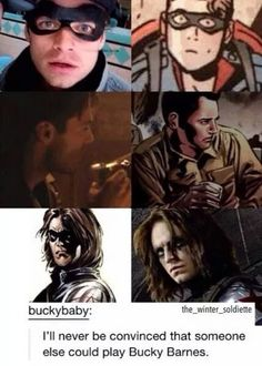''I'll never be convinced that someone else could play Bucky Barnes.'' Not to mention the duckface... :P / Sebastian Stan ♥