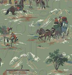 Western Cowboy retro custom vintage wallpaper: 032a   Children's Vintage Wallpaper