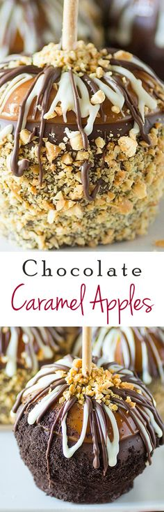 Gourmet Caramel Apples - Everyone raves about these easy holiday caramel apples. #chocolate #food #fall #apple