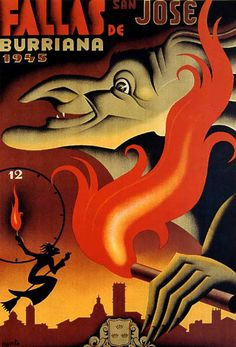 "1945 SPAIN FALLAS SAN JOSE BURRIANA HALLOWEEN WITCH VINTAGE POSTER REPRO 12""X16"""