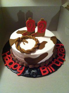 Western theme birthday cake