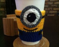Hand Knitted Minion Despicable Me Coffee or Tea Cozy for Starbucks or Peets