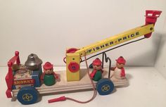 Vintage Fisher Price Little People FIRE TRUCK ENGINE SNORKY 168 Playset Wood #FisherPrice