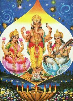 Lakshmi, Ganesha and Saraswati Jai Ganesh, Shree Ganesh, Goddess Art, Goddess Lakshmi, Good Morning Clips, Ganesh Chaturthi Images, Lord Ganesha Paintings, Hd Nature Wallpapers, Durga Maa