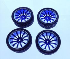 1:10 On Road Flat Racing RC Car Rubber Tires Wheels Tyres 12 Spoke Rims  - UK #Unbranded