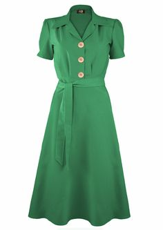 1940s Shirt Dress - Green - Fashion 1930s, 1940s & 1950s style - vintage reproduction