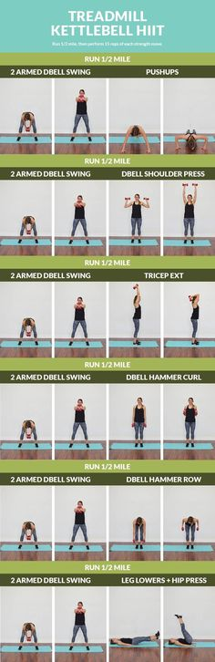 Steady cardio combined with strength training blasts makes for a metabolism boosting workout! 21 Day Fix Workouts, Treadmill Workouts, Body Workouts, Workout Tips, Running Workouts, Workout Routines, Kettlebell Hiit, Dumbbell Workout, Dumbbell Exercises