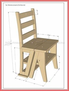 Make Step Stool Furniture Plans MARANGOZ Library Chair Diy Furniture Ladder Chair. Folding Lounge Chair, Outdoor Folding Chairs, Wooden Folding Chairs, Ladder Chair, Stool Chair, Diy Chair, Furniture Plans, Diy Furniture, Library Chair