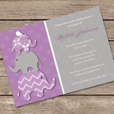 Stacked Purple Elephants Baby Shower Invitation DIY Printable